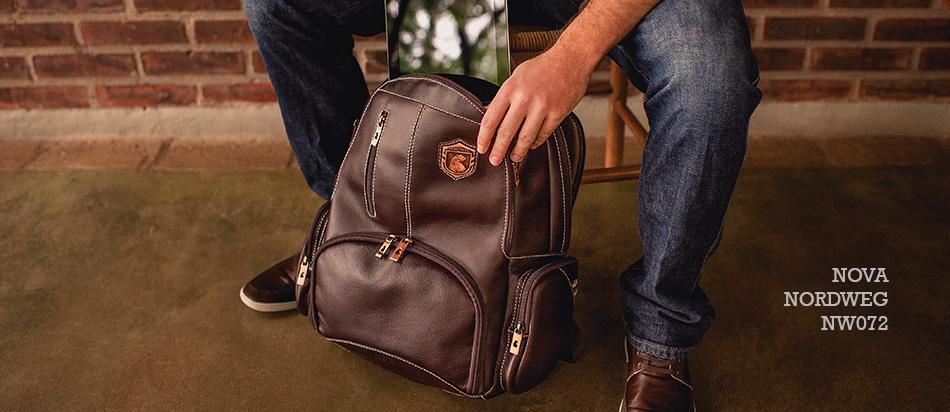 nova mochila de couro para notebook Nordweg NW072