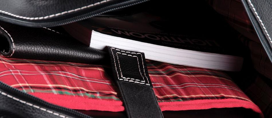 Mochila masculina de couro para notebook Nordweg NW016 dentro interior livro forro xadrez vermelho