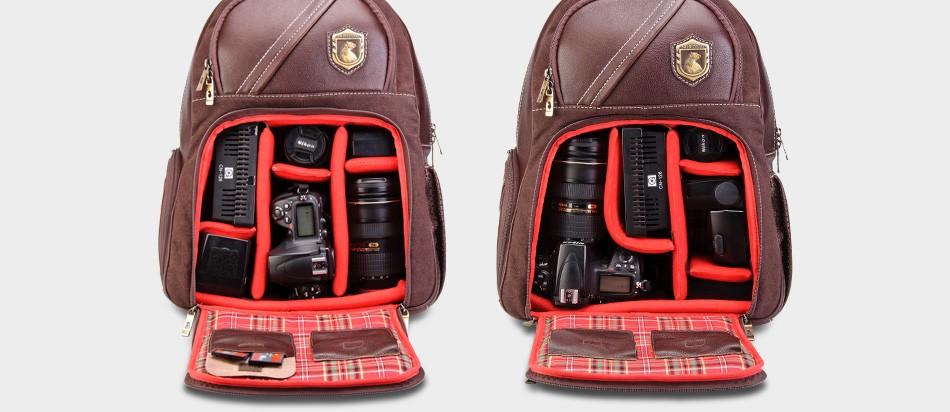 Mochila de couro para fotógrafos by Robison Kunz Nordweg NW055 Café lente câmera flash carregador cabos forro xadrez