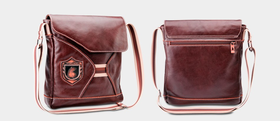 Bolsa masculina de couro legítimo para iPad e netbook Nordweg NW046 zoom listra brasão frente costas