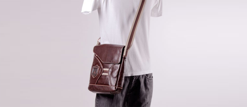 Bolsa masculina de couro legítimo para iPad e netbook Nordweg NW046 manequim