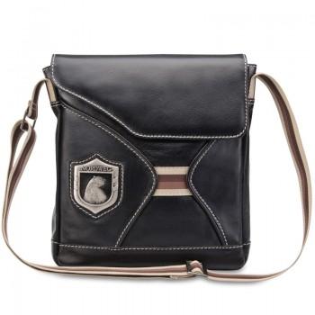 Bolsa masculina de couro para iPad e netbook Nordweg NW046 italiano preto