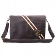Bolsa masculina de couro com lona estonada estilo carteiro Nordweg NW028 lumiere café