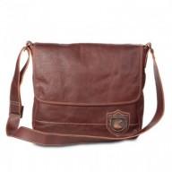 Bolsa masculina de couro estilo carteiro para notebook Nordweg NW003 italiano café