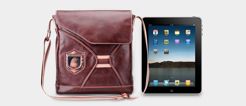 Bolsa masculina de couro legítimo para iPad e netbook iPad Nordweg NW046 frente