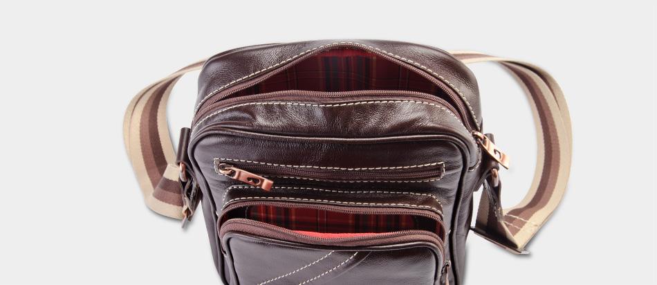 Bolsa masculina de couro compacta Nordweg NW057 topo zíper