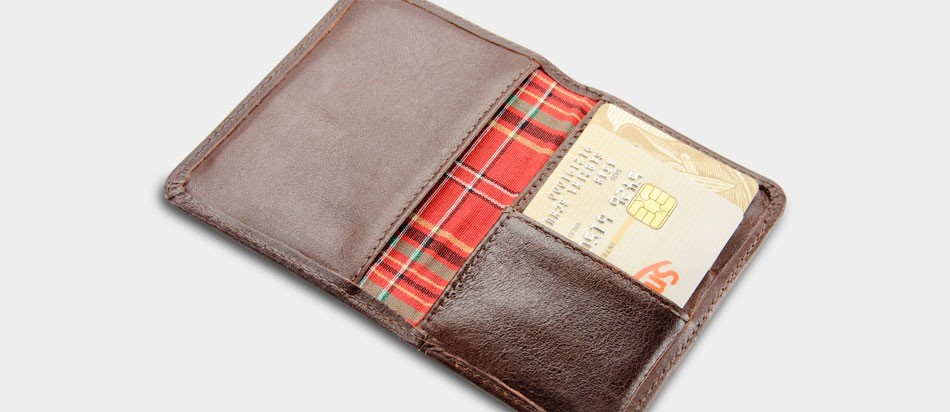 Carteira masculina de couro legítimo compacta Nordweg NW041 aberta cartão