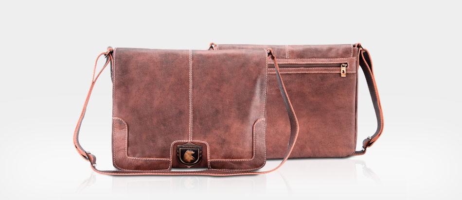 Bolsa masculina couro notebook estilo carteiro NW001 Nordweg legítimo frente