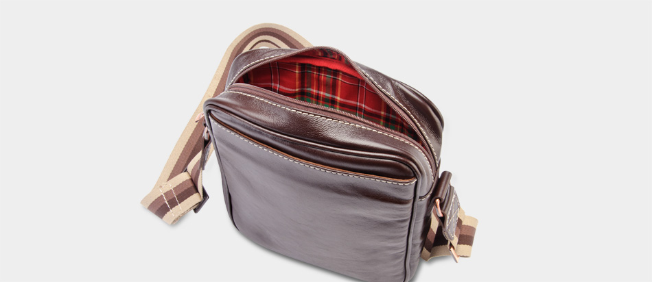 Bolsa masculina de couro compacta Nordweg NW057 interior xadrez vermelho