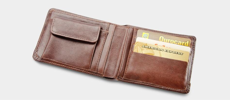 Carteira de couro com niqueleira / moedeira Nordweg NW036 Italiano Café aberta cartões crédito