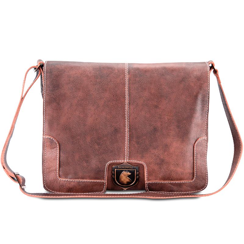 Bolsa masculina de couro para notebook estilo carteiro vintage