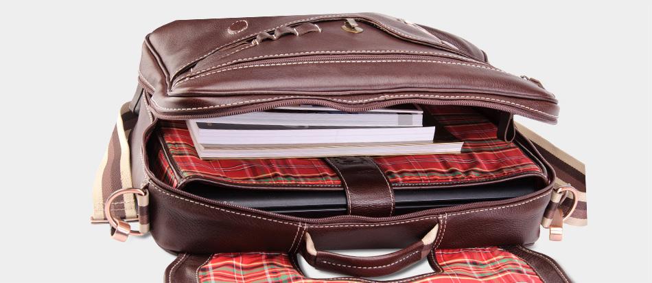 Bolsa masculina de couro legítimo para notebook Nordweg NW053 café aberta livros suporte removível