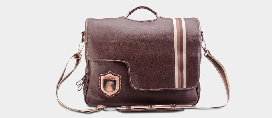 Bolsa masculina de couro legítimo para notebook Nordweg NW053 café frente