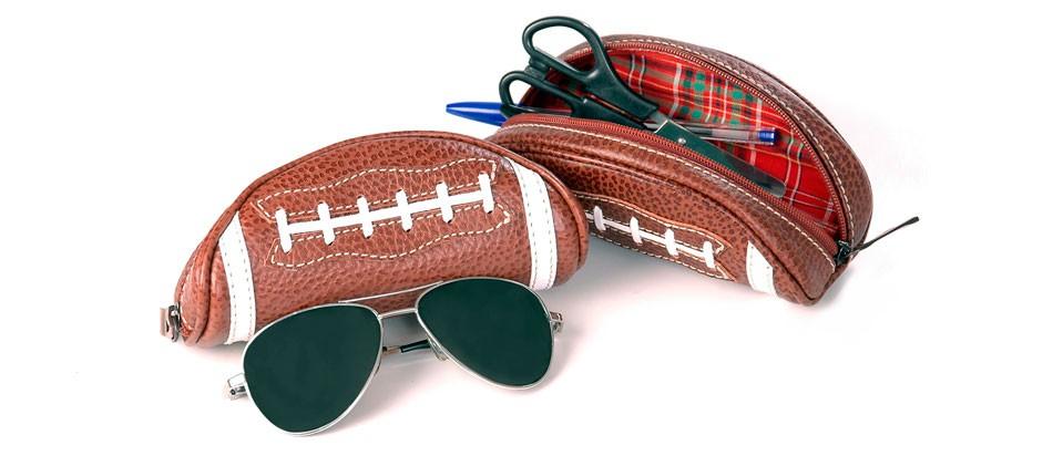 Estojo de couro legítimo Nordweg NW013 football óculos sol rayban caneta lápis tesoura