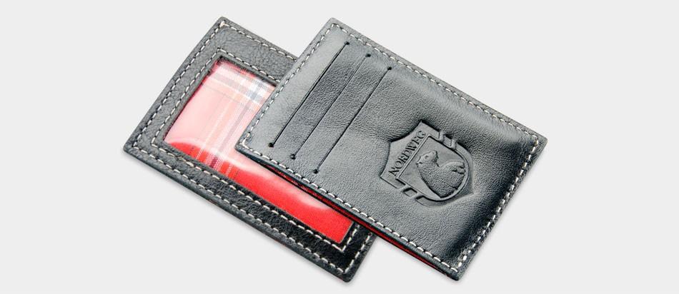 Carteira de couro compacta Party Wallet Nordweg NW009 cartão de crédito italiano café frente verso