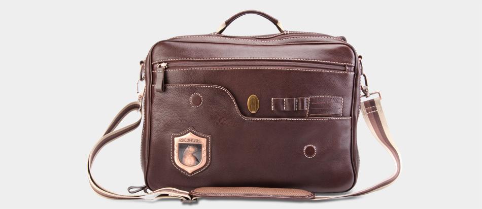 Bolsa masculina de couro legítimo para notebook Nordweg NW053 café aberta porta cartões caneta chaves alça mão