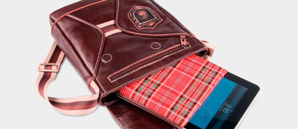 Bolsa masculina de couro legítimo para iPad e netbook Nordweg NW046 proteção removível forro tecido xadrez vermelho