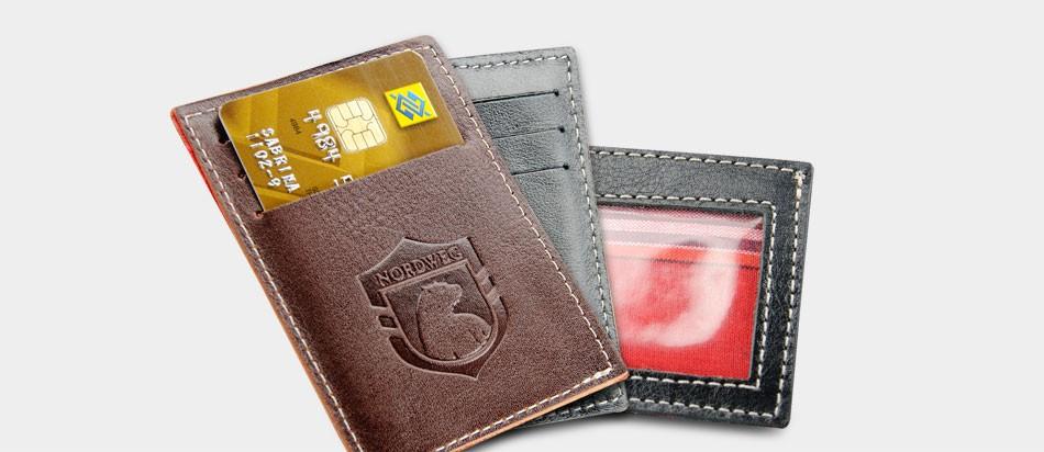 Carteira de couro compacta Party Wallet Nordweg NW009 cartão de crédito italiano café CNH carteira motorista