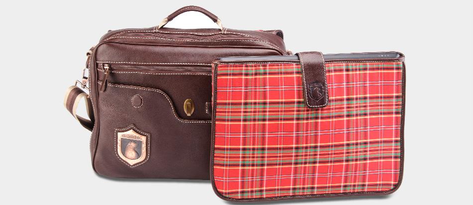 Bolsa masculina de couro legítimo para notebook Nordweg NW053 café proteção removível xadrez vermelho forro tecido