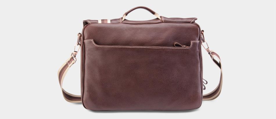 Bolsa masculina de couro legítimo para notebook Nordweg NW053 café atrás zíper