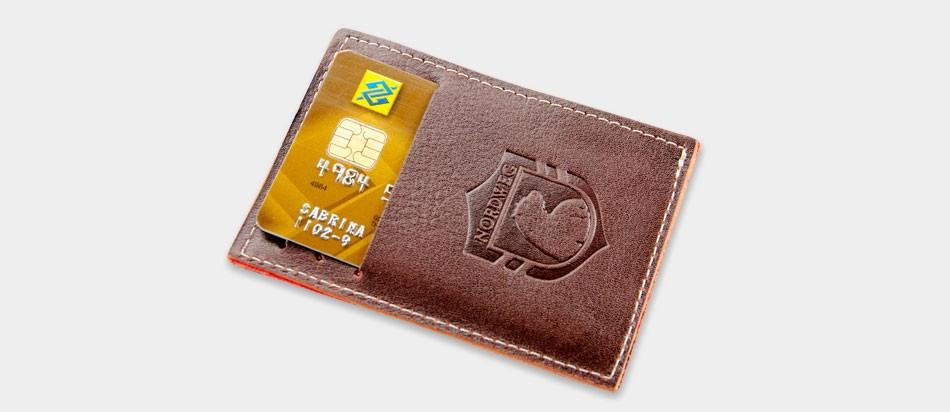 Carteira de couro compacta Party Wallet Nordweg NW009 cartão de crédito brasão urso carimbo