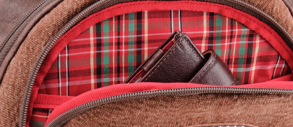 Mochila masculina de couro para notebook Nordweg NW012 bolso frontal xadrez vermelho carteira