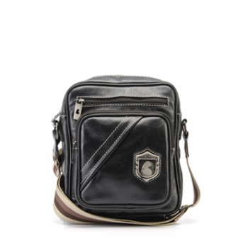 Bolsa masculina de couro compacta Nordweg NW057 italiano preto