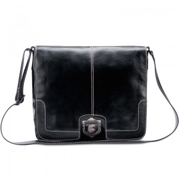 Bolsa masculina de couro para notebook estilo carteiro italiano preto