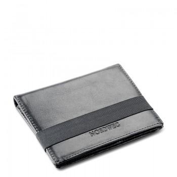 Carteira de couro com fechamento por elástico Nordweg NW034 italiano preto